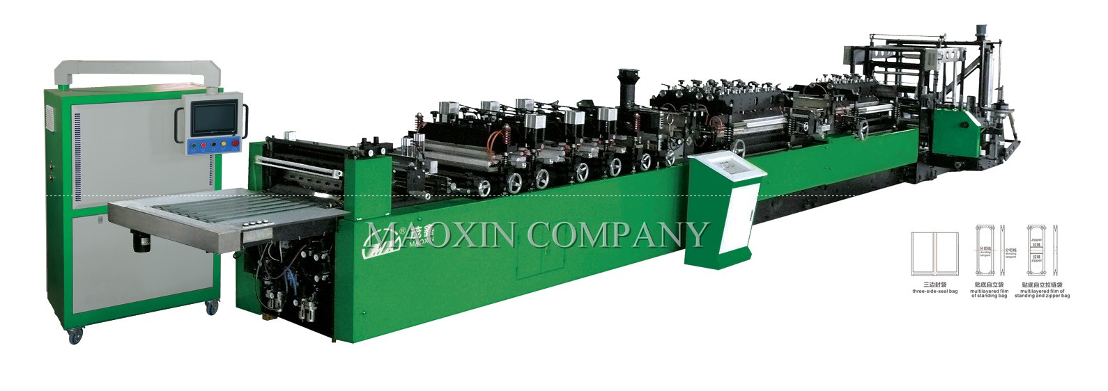 MX –RZD-A SERIES OF FULLY AUTOMATIC BAG MAKING FOR THREE SIDE SEAL, STANDING AND ZIPPER