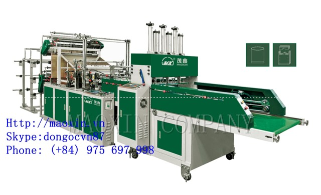 MXFQ +SL Automatic Double Channels Double Layer 4/6 Lines Vest Bag Sealing Cutting Machine